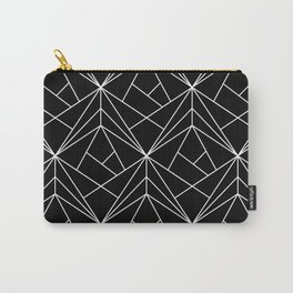 White Geometric Pattern on Black Background Carry-All Pouch