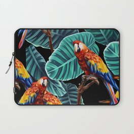 tropical leaves macaw pattern 2 Laptop Sleeve