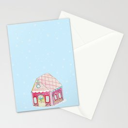 Gingerbread House Pink Stationery Cards