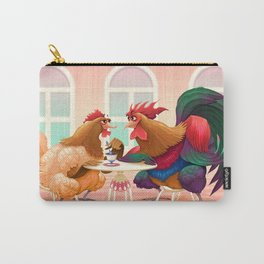 Hen and rooster in a cafè Carry-All Pouch