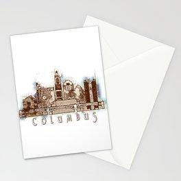 Columbus City, Ohio Skyline Graphic Stationery Cards