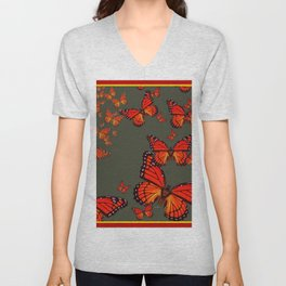 Orange is the  Color Of Monarch Butterflies Unisex V-Neck