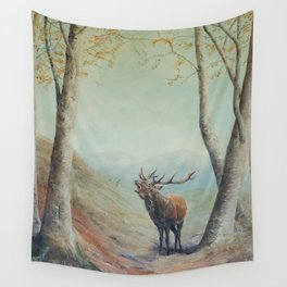 Red deer stag bellowing at rut Wall Tapestry