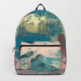 Sugar Rush [2]: a colorful, abstract mixed media piece in pinks, blues, and gold Backpack