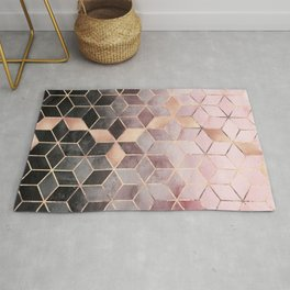 Pink And Grey Gradient Cubes Rug