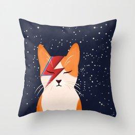 David Meowie Throw Pillow