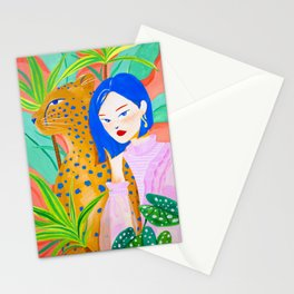 Short Hair Girl and Leopard in Garden Stationery Cards