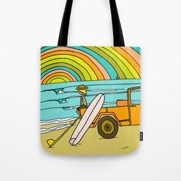 Retro Surf Days Single Fin Pick Up Truck Tote Bag