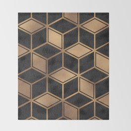 Charcoal and Gold - Geometric Textured Cube Design II Throw Blanket