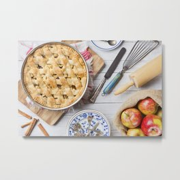 Homemade apple pie and ingredients on a rustic table Metal Print
