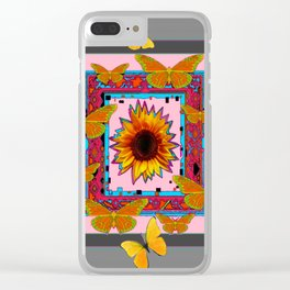 SOUTHWEST ART BUTTERFLIES SUNFLOWERS Clear iPhone Case