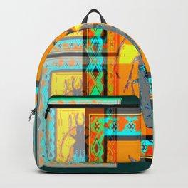 WESTERN TEAL TURQUOISE BEETLE ORANGE ART DESIGN Backpack