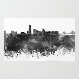 Yokohama skyline in black watercolor on white background Rug
