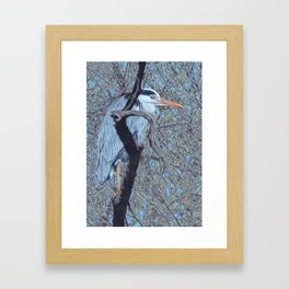 Grey Heron (Ardea Cinerea) Colored Pencils Artwork Framed Art Print