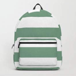 Sage Green & White Horizontal Cabana Tent Stripes Backpack
