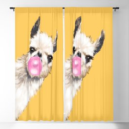 Bubble Gum Sneaky Llama in Yellow Blackout Curtain