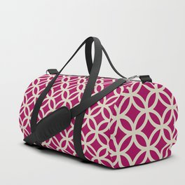 Ring Overlap - beige on berry Duffle Bag