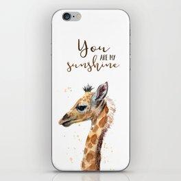 You Are My Sunshine Giraffe Nursery Animals Watercolor Art iPhone Skin