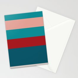 A fascinating farrago of Blood (Animal), Pastel Pink, Silver, Dark Cyan and Philippine Indigo stripes. Stationery Cards