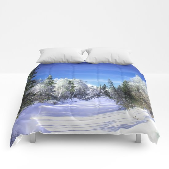 Winter river Comforters