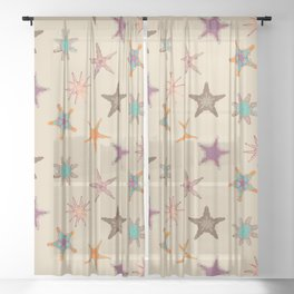 Fish tales: Starfish pattern 1a Sheer Curtain