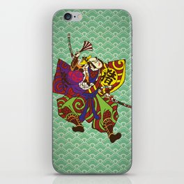 Samurai with vintage japan painting style iPhone Skin