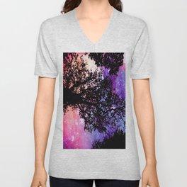 Black Trees Pink Purple Space Unisex V-Neck