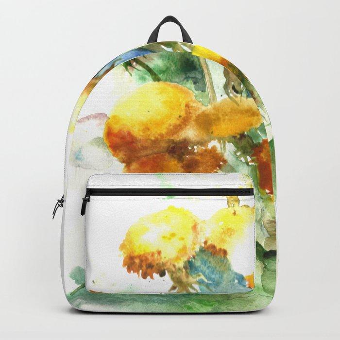 Watercolor yellow dandelion flowers Backpack