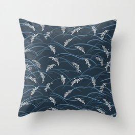 grass blades in the wind dark blue 300 Throw Pillow