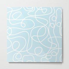 Doodle Line Art | White Lines on Palest Blue Metal Print