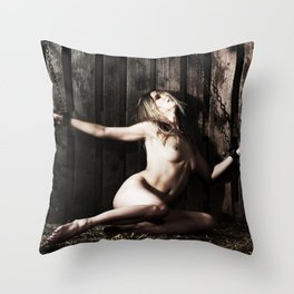 Woman shackled with heavy shackles or cuffs Throw Pillow