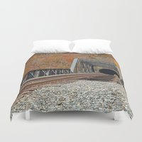 grafitti Duvet Covers featuring Autumn Graffiti Train Track by Nicolas Raymond