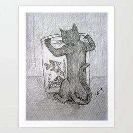 Curious Cat and the Goldfish Drawing Art Print