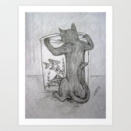 Curious Cat and the Goldfish Drawing Art Print