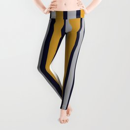 Modern Stripes in Mustard Yellow, Navy Blue, Gray, and White. Minimalist Color Block Leggings