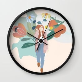 Woman Walking in a Forest  Wall Clock