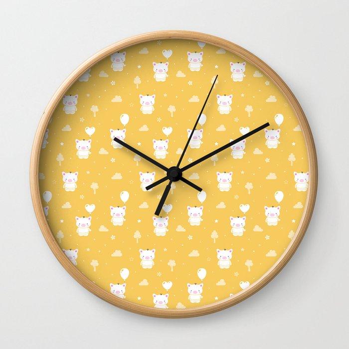 Baby Teddy Pigs Wall Clock