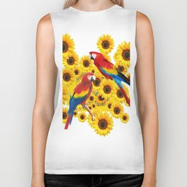 RED  & BLUE MACAWS LOVE YELLOW SUNFLOWERS ART Biker Tank