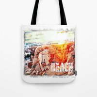 chicago bulls Tote Bags featuring Beach Bulls by Zhineh Cobra