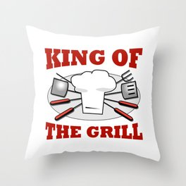 King of the Grill Barbeque Grill Chef Throw Pillow
