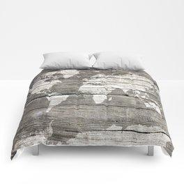 world map wood 1 Comforters