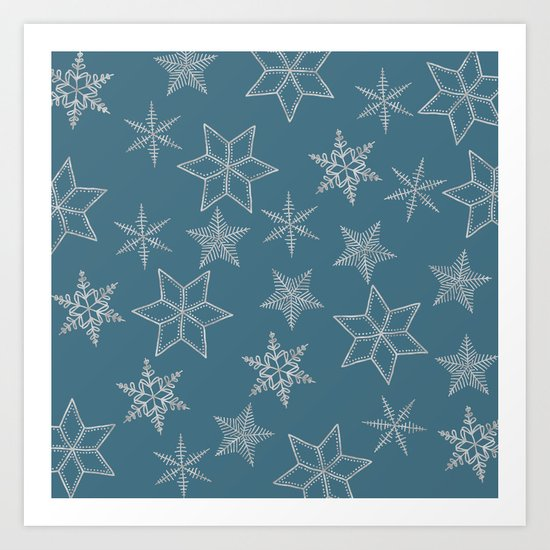 Silver Snowfakes On Teal Background Art Print