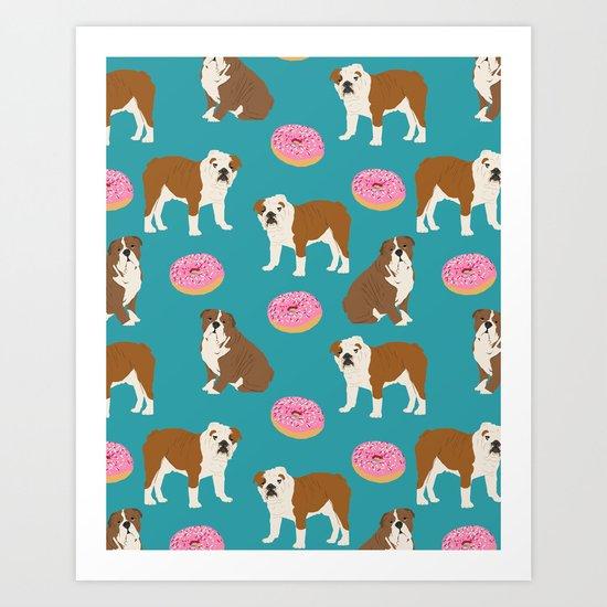 English Bulldog sprinkle pink donuts cute colorful children pets fur baby pet portrait bulldog gifts Art Print