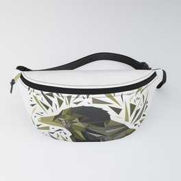Crow in yellow tones in a frame of scattered triangles. Fanny Pack