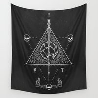 deathly hallows Wall Tapestries featuring Deathly Hallows by Mírë