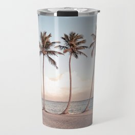 Palmtree Sunset // A Modern Artsy Style Graphic Photography of Palm Leaf Line Sunset View Travel Mug