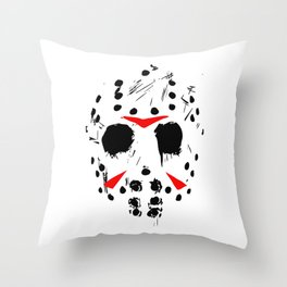 Classic Horror Movie mask of Jason Voorhees  Throw Pillow