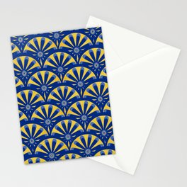 Art Deco Fan in blue and gold Stationery Cards