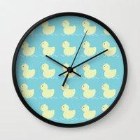 ducks Wall Clocks featuring Ducks  by Art à la Mutuz