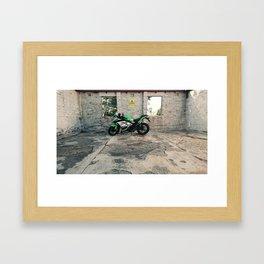 Kawsaki Ninja at Mount Stromlo Observatory ruins, ACT. Framed Art Print